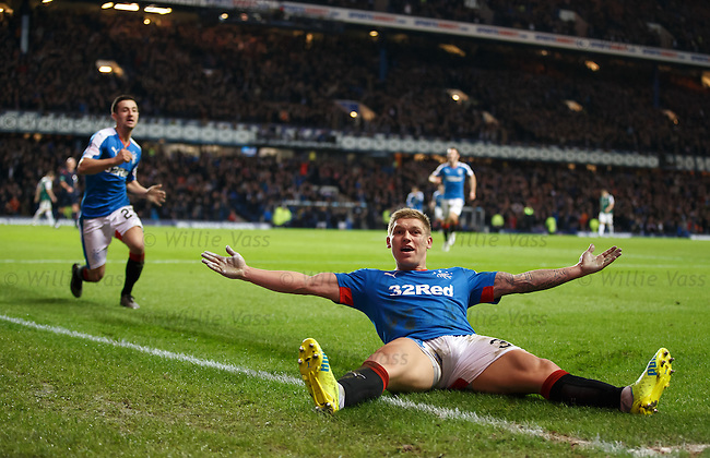 Martyn Waghorn celebrates his killer fourth goal for Rangers