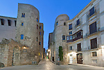 Europe, Spain, Catalonia, Barcelona, Gothic Quarter, Old Roman Gate at Dawn