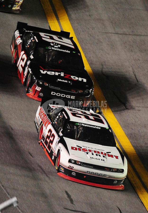 Jul. 2, 2010; Daytona Beach, FL, USA; NASCAR Nationwide Series driver Brad Keselowski (22) leads teammate Justin Allgaier (12) during the Subway Jalapeno 250 at Daytona International Speedway. Mandatory Credit: Mark J. Rebilas-