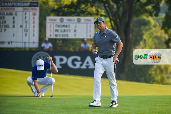 Rory McIlroy (NIR) after sinking his putt on 9 during 2nd round of the 100th PGA Championship at Bellerive Country Club, St. Louis, Missouri. 8/11/2018.<br /> Picture: Golffile | Ken Murray<br /> <br /> All photo usage must carry mandatory copyright credit (© Golffile | Ken Murray)