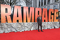 "Dwayne Johnson arriving for the ""Rampage"" premiere at the Cineworld Empire Leicester Square, London, UK. <br /> 11 April  2018<br /> Picture: Steve Vas/Featureflash/SilverHub 0208 004 5359 sales@silverhubmedia.com"