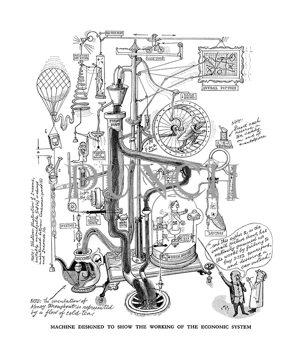 Machine designed to show the working of the economic system