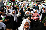 Palestinian school girls take part in an anti-Israel protest in Khan Younis in the southern in Gaza strip, on Oct. 18, 2015. Israel pressed ahead with major security measures after five more stabbing incidents, while ultra-Orthodox Jews illegally visiting a West Bank holy site set ablaze last week were assaulted by Palestinians. Photo by Abed Rahim Khatib