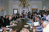 United States President George H.W. Bush meets with bipartisan, bicameral Congressional budget negotiators in the Cabinet Room of the White House in Washington, D.C. on May 15, 1990.  <br /> Credit: Ron Sachs / CNP