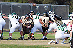 Palos Verdes, CA 10/25/13 - \Mike Pettis (Peninsula #75), Andrew Phillips (Peninsula #16) in action during the Mira Costa vs Peninsula varsity football game at Palos Verdes Peninsula High School.