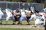 Palos Verdes, CA 10/25/13 - \Mike Pettis (Peninsula #75), Andrew Phillips (Peninsula #16) in action during the Mira Costa vs Peninsula varsity football game at Palos Verdes Peninsula High School.