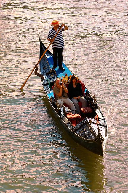 Gondola at the Rialto Bridge - Venice Italy