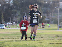 DeAnza Cove, Mission Bay, San Diego CA, USA.  Sunday, January 25 2015:  Friends of Pacific Beach Schools (FOPBS) School Yard Dash.  The 2nd annual charity event which raises money for the six local schools in the Mission Bay Cluster, comprised of a 1-mile run for kids followed by a 5K run for all ages.  Besides parents, teachers, staff, students and siblings competitors from all over San Diego and abroad ran in the event.  All six schools in the Mission Bay cluster had information booths at the event for potential parents to meet and speak with staff and students.  Music was provided by local teenage band Rubber Band and the string ensemble from Crown Point Elementary School.
