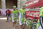 Cannondale team riders sign on in San Gimignano before the start of the 2014 Strade Bianche race over the white dusty gravel roads of Tuscany, Italy. 8th March 2014.<br /> Picture: Eoin Clarke www.newsfile.ie