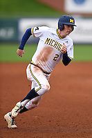 Michigan Wolverines infielder Jacob Cronenworth (2) during the second game of a doubleheader against the Siena Saints on February 27, 2015 at Tradition Field in St. Lucie, Florida.  Michigan defeated Siena 6-0.  (Mike Janes/Four Seam Images)