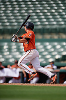 Baltimore Orioles left fielder Trevor Craport (59) flies out during a Florida Instructional League game against the Pittsburgh Pirates on September 22, 2018 at Ed Smith Stadium in Sarasota, Florida.  (Mike Janes/Four Seam Images)