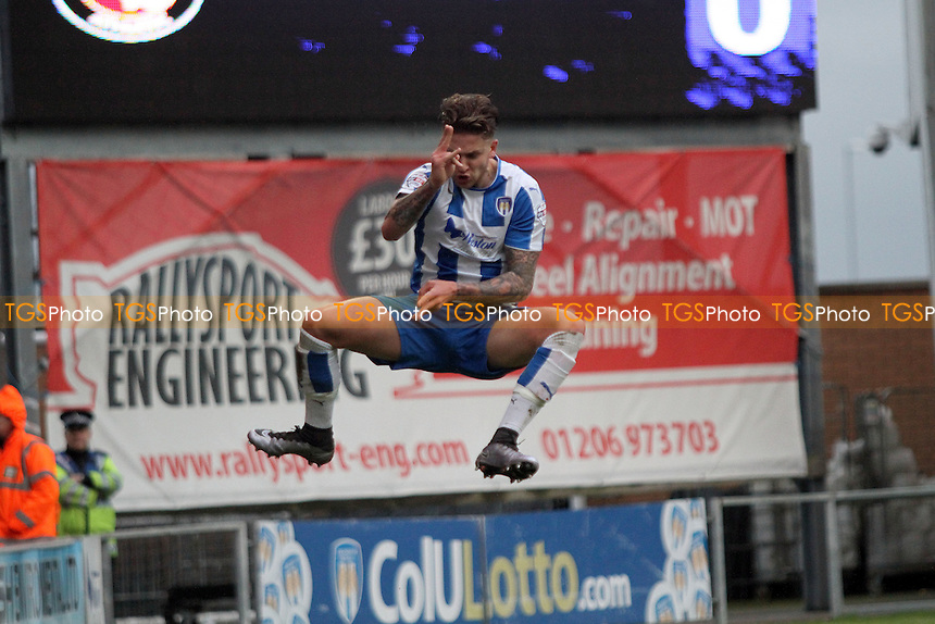 George Moncur of Colchester United celebrates his goal to open the scoring during Colchester United vs Charlton Athletic, Emirates FA Cup Football at the Weston Homes Community Stadium, Colchester, England on 09/01/2016