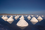 Piles of salt dry in the arid atmosphere of Bolivia's Salar de Uyuni. Salt reaches depths of over six feet in the vast, ten-thousand-square-kilometer salar, or ancient lake bed. Villagers rake salt into piles that they will sell in cities throughout South America.