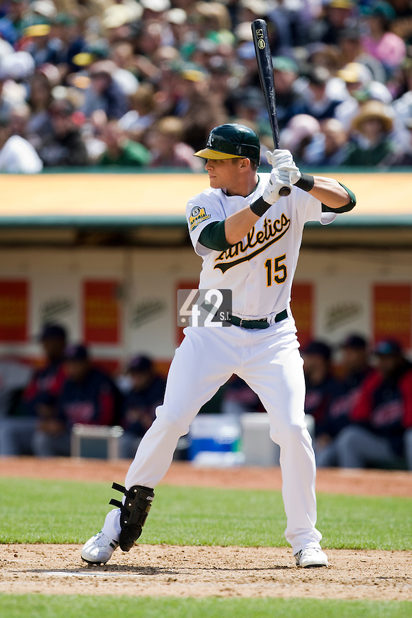 6 April 2008: A's #15 Ryan Sweeney is seen at bat during the Cleveland Indians 2-1 victory over the Oakland Athletics at the McAfee Coliseum in Oakland, CA.