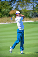 Charl Schwartzel (RSA) watches his approach shot on 6 during round 1 foursomes of the 2017 President's Cup, Liberty National Golf Club, Jersey City, New Jersey, USA. 9/28/2017.<br /> Picture: Golffile   Ken Murray<br /> ll photo usage must carry mandatory copyright credit (&copy; Golffile   Ken Murray)