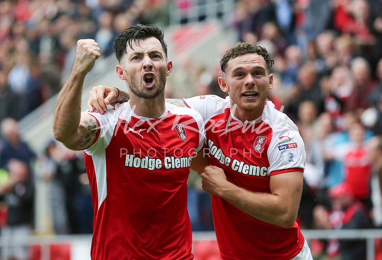 Rotherham United VS Bury, New York Stadium Rotherham, Saturday 9th September 2017 <br /> Rotherhams Richie Towell celebrates scoring the winner for Rotherham with Jon Taylor against Bury 3-2.<br /> <br /> Picture - Alex Roebuck / www.alexroebuck.co.uk