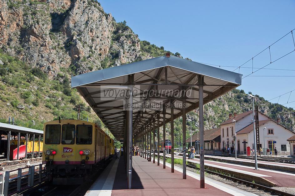Europe/France/Languedoc-Roussillon/66/Pyrénées-Orientales/Conflent/Villefranche-de-Conflent: La gare d'ou part  le Train jaune de Cerdagne