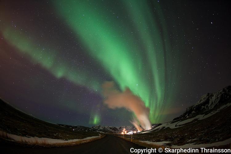 Aurora borealis at Hellisheiði geothermal peninsula, south-west Iceland