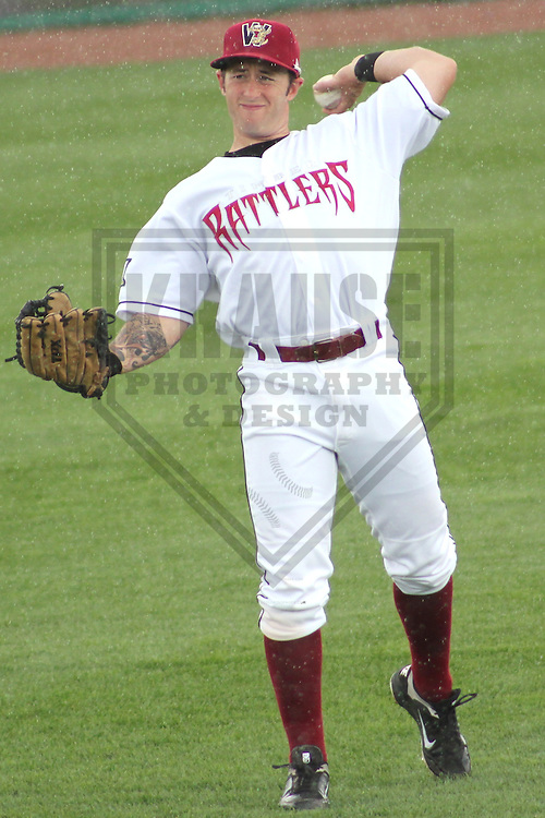 APPLETON - MAY 2011: Robbie Garvey (2) of the Wisconsin Timber Rattlers, Class-A affiliate of the Milwaukee Brewers, during a game on May 23, 2011 at Fox Cities Stadium in Appleton, Wisconsin. (Photo by Brad Krause) ........