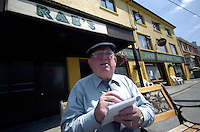 FRIDAY 8-6-07: South Kerry Independent TD Jackie Healy-Rae pictured outside his pub in Kilgarvan in County kerry on Friday afternoon compiling his 'special list' for Taoiseach Bertie Ahern. Deputy Healy-rae expects to be called to Dublin for a meeting on Monday.<br /> Picture by Don MacMonagle