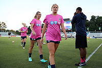 Cary, North Carolina  - Saturday September 09, 2017: Makenzy Doniak, Stephanie Ochs, and Samantha Mewis prior to a regular season National Women's Soccer League (NWSL) match between the North Carolina Courage and the Houston Dash at Sahlen's Stadium at WakeMed Soccer Park. The Courage won the game 1-0.