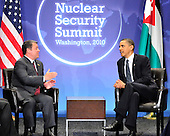 United States President Barack Obama holds bilateral meeting with King Abdullah II of Jordan on the sidelines of the Nuclear Security Summit at the Washington Convention Center, Monday, April 12, 2010 in Washington, DC. .Credit: Ron Sachs / Pool via CNP