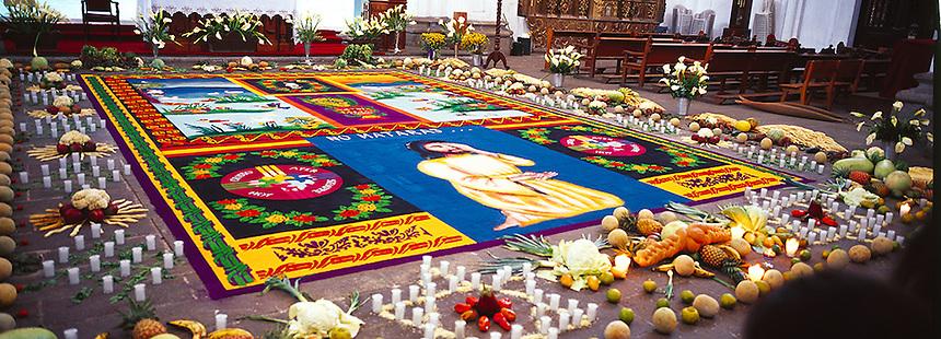 Church La Merced decorated Semana Santa, Antigua, Guatemala, Photograph by Peter E. Randall