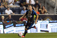 Jack McInerney (9) of the Philadelphia Union. The Philadelphia Union defeated Toronto FC 1-0 during a Major League Soccer (MLS) match at PPL Park in Chester, PA, on October 5, 2013.