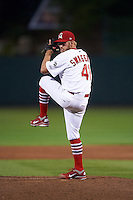 Springfield Cardinals pitcher Jordan Swagerty (41) delivers a pitch during a game against the Frisco RoughRiders  on June 3, 2015 at Hammons Field in Springfield, Missouri.  Springfield defeated Frisco 7-2.  (Mike Janes/Four Seam Images)