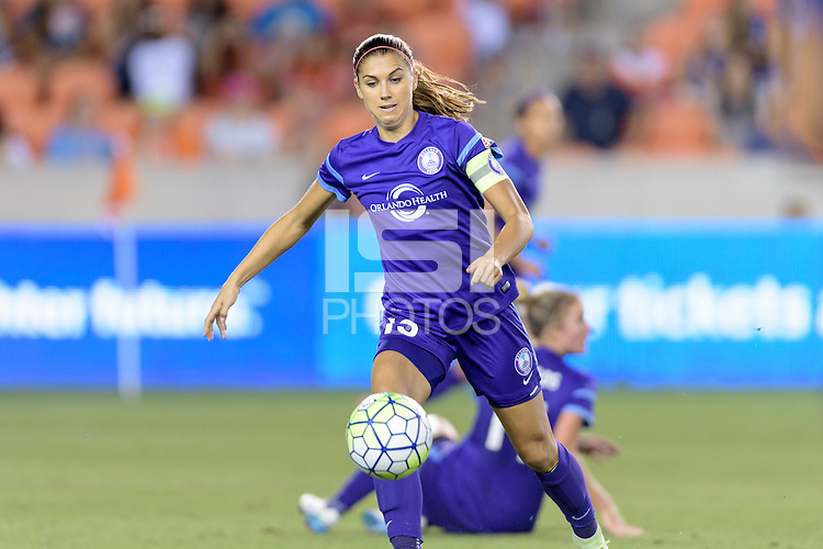 Alex Morgan (13) of the Orlando Pride attempts to gain control of a loose ball against the Houston Dash on Friday, May 20, 2016 at BBVA Compass Stadium in Houston Texas. The Orlando Pride defeated the Houston Dash 1-0.