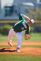 Farmingdale State Rams relief pitcher Daniel Egan (26) delivers a pitch during the first game of a doubleheader against the FDU-Florham Devils on March 15, 2017 at Lake Myrtle Park in Auburndale, Florida.  Farmingdale defeated FDU-Florham 6-3.  (Mike Janes/Four Seam Images)