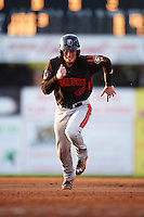 Aberdeen Ironbirds catcher Stuart Levy (40) running the bases during a game against the Batavia Muckdogs on July 16, 2016 at Dwyer Stadium in Batavia, New York.  Aberdeen defeated Batavia 9-0. (Mike Janes/Four Seam Images)