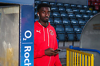 Jordy Hiwula of Fleetwood Town before the Sky Bet League 1 match between Rochdale and Fleetwood Town at Spotland Stadium, Rochdale, England on 20 March 2018. Photo by Thomas Gadd.