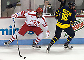 Jordan Greenway (BU - 18), Chris LeBlanc (Merrimack - 16) - The visiting Merrimack College Warriors defeated the Boston University Terriers 4-1 to complete a regular season sweep on Friday, January 27, 2017, at Agganis Arena in Boston, Massachusetts.The visiting Merrimack College Warriors defeated the Boston University Terriers 4-1 to complete a regular season sweep on Friday, January 27, 2017, at Agganis Arena in Boston, Massachusetts.