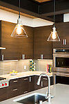 Glass pendants hand over the island of a contemporary kitchen. This image is available through an alternate architectural stock image agency, Collinstock located here: http://www.collinstock.com