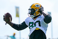 Green Bay Packers tight end Martellus Bennett (80) during a training camp practice on August 29, 2017 at Ray Nitschke Field in Green Bay, Wisconsin.   (Brad Krause/Krause Sports Photography)