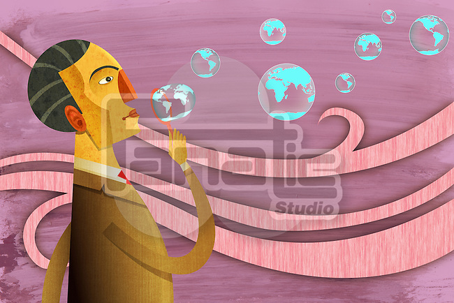 Illustrative image of businessman blowing bubbles representing global aim