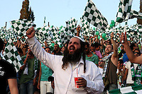 Macabi Haifa fans are seen during the final of the Israeli cup against Macabi Haifa, 2008 - 9, at the National Stadium of Ramat Gan. Beitar won the cup in a 3 - 0 result. Macabi Haifa won the league 2008 - 9. Photo by Quique Kierszenbaum