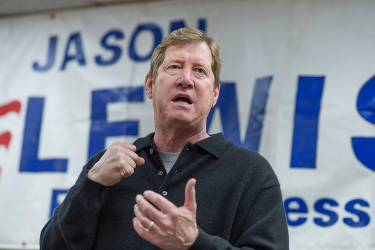 UNITED STATES - OCTOBER 28: Jason Lewis, Republican candidate  for Minnesota's 2nd Congressional District, talks with volunteers at his campaign office in Burnsville, MN, October 29, 2016. (Photo By Tom Williams/CQ Roll Call)