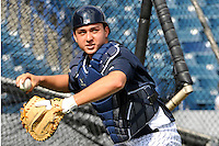Feb 23, 2010; Tampa, FL, USA; New York Yankees  catcher Kyle Higashioka (92) during  team workout at George M. Steinbrenner Field. Mandatory Credit: Tomasso De Rosa