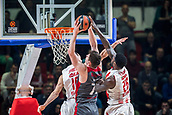 9th February 2018, Aleksandar Nikolic Hall, Belgrade, Serbia; Euroleague Basketball, Crvenz Zvezda mts Belgrade versus AX Armani Exchange Olimpia Milan; Center Stefan Jankovic of Crvena Zvezda mts Belgrade and Center Mathias Lessort of Crvena Zvezda mts Belgrade try to stop Center Arturas Gudaitis of AX Armani Exchange Olimpia Milan