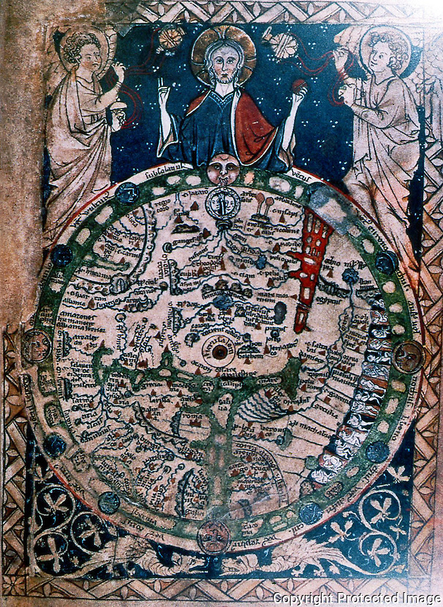 Maps:  13th Century wheel map--from English Psalter.  Jerusalem at center; Garden of Eden at top.  Top of map is East, Europe is bottom left.