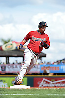 Minnesota Twins outfielder Oswaldo Arcia (31) runs the bases on a Kennys Vargas (not shown) home run during a Spring Training game against the Pittsburgh Pirates on March 13, 2015 at McKechnie Field in Bradenton, Florida.  Minnesota defeated Pittsburgh 8-3.  (Mike Janes/Four Seam Images)