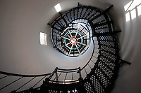 SANTA BARBARA, CA – APRIL 1, 2011: The lighthouse staircase of Rusty's Pizza across from Stearns Wharf in Santa Barbara, California, photographed on April 1, 2011, was built in 1980s, and has since become an icon of Santa Barbara's Cabrillo Blvd. The restaurant was originally called the Lighthouse Restaurant, but Rusty's Pizza bought the building in the mid-90s. (Photo by Suzanne Tyander ©2011)