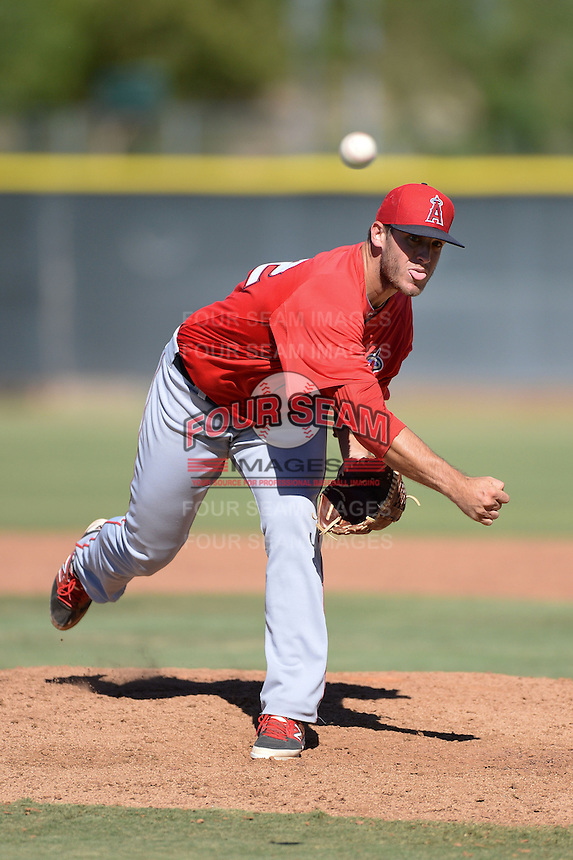 Los Angels Angels of Anaheim pitcher Austin Adams (52) during an instructional league game against the Colorado Rockies on September 30, 2013 at Tempe Diablo Stadium Complex in Tempe, Arizona.  (Mike Janes/Four Seam Images)