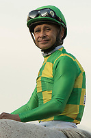 ARCADIA, CA   FEBRUARY 3 : Jockey Mike Smith in the post parade of the San Pasqual Stakes (Grade ll) on February 3, 2018 at Santa Anita Park in Arcadia, Ca. (Photo by Casey Phillips/ Eclipse Sortswire/ Getty Images)
