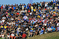 Part of the crowd around the 9th green during Saturday Foursomes at the Ryder Cup, Le Golf National, Ile-de-France, France. 29/09/2018.<br /> Picture Thos Caffrey / Golffile.ie<br /> <br /> All photo usage must carry mandatory copyright credit (&copy; Golffile | Thos Caffrey)