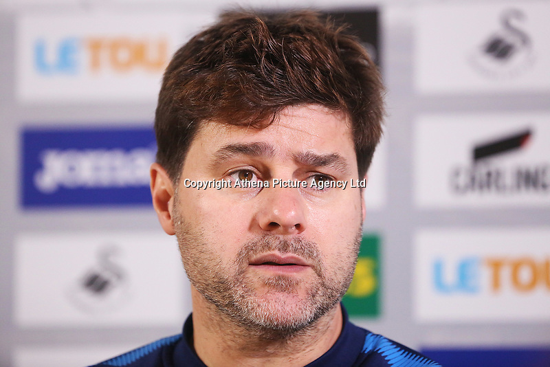Tottenham Hotspur manager Mauricio Pochettino during a post match pre conference after the Premier League match between Swansea City and Tottenham Hotspur at the Liberty Stadium, Swansea, Wales, UK. Tuesday 02 January 2018