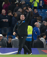 Everton Caretaker Manager David Unsworth gives a thumb up at full time in the direction of the Directors box during the Carabao Cup round of 16 match between Chelsea and Everton at Stamford Bridge, London, England on 25 October 2017. Photo by Andy Rowland.
