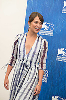 Alicia Vikander at the photocall for The Light Between Oceans at the 2016 Venice Film Festival.<br /> September 1, 2016  Venice, Italy<br /> Picture: Kristina Afanasyeva / Featureflash